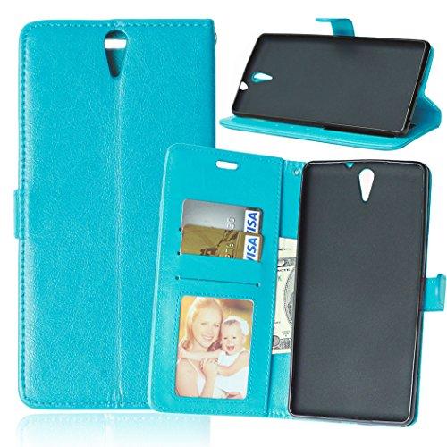Flip Jordan Farbe (Nancen Compatible with Handyhülle Sony Xperia C5 Ultra Lederhülle Style Acht Farbe Weich PU Flip Case Ledertasche/Schutz Etui, Karten Slot Foto Wallet Hülle)
