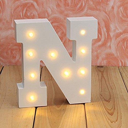 LEDMOMO luces decorativas led letras diseño de alfabeto de madera blanco letras...
