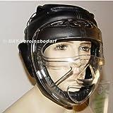 BAY® Budo Kopfschutz mit Maske LEDER PU Visier Plexiglas Gitter
