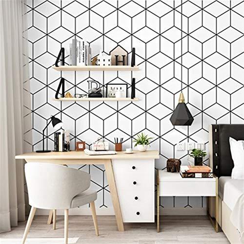 Geometrische Tapeten 3D Schwarzes Vinylweißes Gitter-Tapetenbahn 3D für Wohnzimmer-Hintergrund-Wandgemälde (Color : Black) -