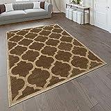 Paco Home Designer Teppich Marokkanisches Muster Kurzflorteppich Modern Trend Beige Braun, Grösse:160x220 cm