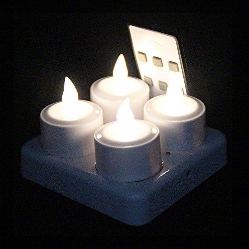 (EuroFone wiederaufladbare LED Kerzen Flackern Teelicht Kerze Flammenlos mit Ladestation Halter 4 Stück (Warm white with remote))