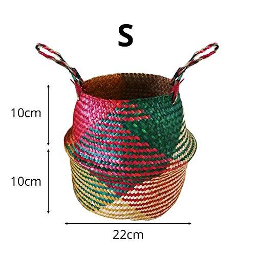 Warooms - cesto in vimini naturale per la pancia, tessuto a mano, con manico, pieghevole