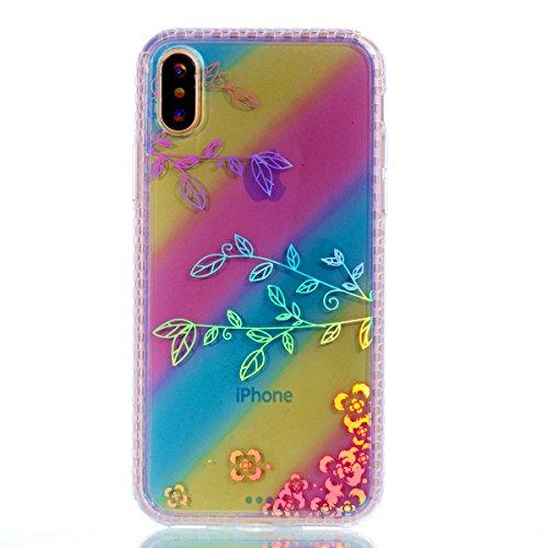 Pour Apple Iphone X Case Cover, Ecoway TPU Soft Motif de placage en couleur personalized pattern Housse en silicone Housse de protection Housse pour téléphone portable pour Apple Iphone X - diamant banane