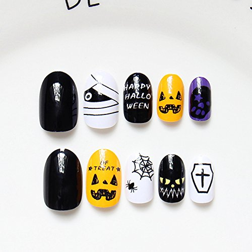 yunail 24 Halloween Geschenk massiv schwarz gelb/weiß Spider Web Violett Skulls Oval kurz Full Cover False Nail (Cute Teen Halloween)