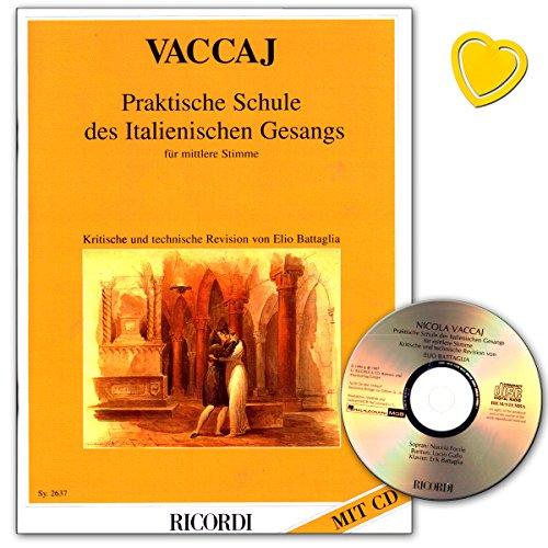 Praktische Schule des italienischen Gesangs für mittlere Stimme - Lehrbuch von Nicola Vaccai mit CD und bunter herzförmiger Notenklammer (Angehende Sänger)