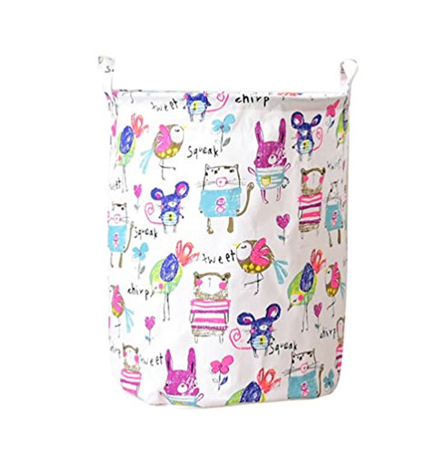 YOUJIA Stoff Wäschebehälter für Schmutzwäsche Klappbare Wäschekorb Wäschesammler Wäschebox Rund Wäschetonne Kleidung Spielzeug Aufbewahrung Korb (Leinen Graffiti, 35*45 cm)
