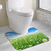 TTmom Premium Sea of Flowers Under Sky Contour Bath Rug, U-Shaped Polyester Toilet Floor Mat Non Slip Bathroom Shower Carpet