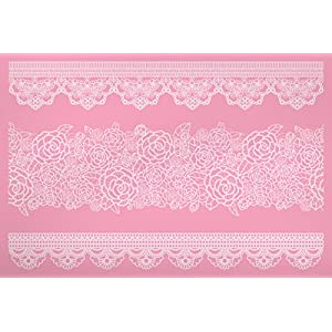 KitchenCraft Sweetly Does It Cake Lace Icing Mat with 3 Ornate Rose Fondant Moulds, Silicone, Pink, 39 x 29 cm