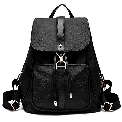 tiezy-leichte-damen-kurz-rucksack-daypack-pu-nylonschulter-buch-tasche-schwarz