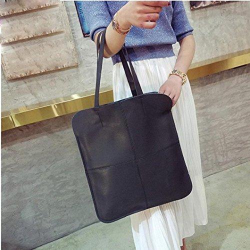 BZLine® Frauen Mode Tasche Umhängetaschen solide große Handtasche taschen, 45cm*39cm*5cm Schwarz