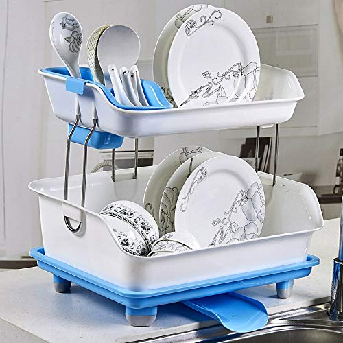 Flyngo Plastic 2 Layer Large Kitchen Sink Dish Drainer Rack Cutlery Utensil, Fruits and Vegetables Drying Basket Stand with Tray