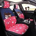 Autositzbezug, Vorne Und Hinten, Atmungsaktiv Kompatibel Airbag Leder Comfort Pad 5 Komplettset Universal,Pink
