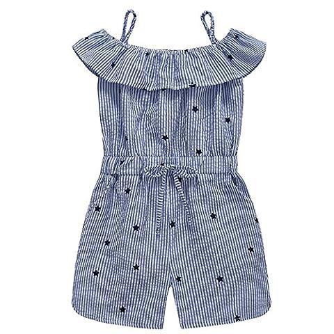 PanDaDa Sommer Kleine Mädchen Overall Einteilige Blue Stripes Overall für