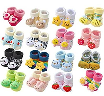 HOME CUBE Cartoon Face Booties For Baby Girl And Boy(HC-018, 0-6 Months ,Multicolor)
