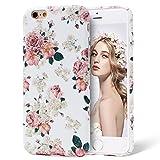 iPhone 6/6s hülle,Imikoko iPhone 6/6s Elegant Protective Schützend Stoßfest Case Back Cover Blumenmuster Hart PC Floral Anti Staub Kratzer Handyhülle für iPhone 6/6s(Weiß Pfingstrose,4.7 zoll)
