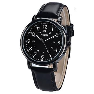 Herren-Uhren-Analog-Quarz-Leder-Armbanduhr-Wasserdicht-Business-Casual-Klassisches-Einfaches-Design-Rund-Armband-Schwarz