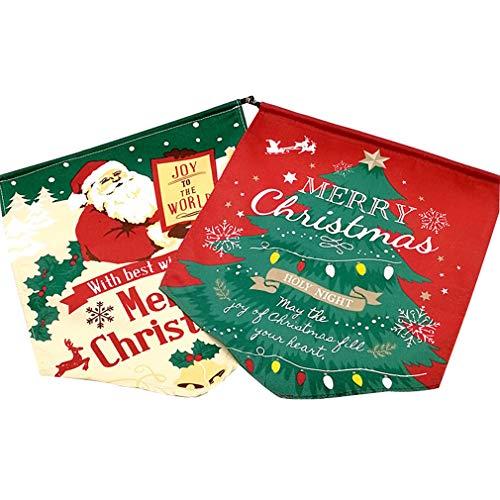 Lefu 4 STÜCKE Weihnachtsdekoration Tuch Flagge Weihnachtsmann Baum Ornament (2 Bäume + 2 Ältere)
