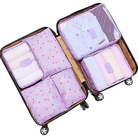 Kansoon® 6-teiliges Kleidertaschen-Set Reisetasche/Koffer Wäschebeutel/Schuhbeutel/Kosmetik/Aufbewahrungstasche (LilaCherry)