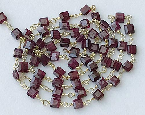 GEMS-WORLD BEADS GEMSTONE 5 Feet Garnet Faceted Flat Box Beads Connector Chains in 925 Silver Gold Plate Wire Wrapped Rosary Style Chain