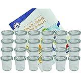 24er Set Weck Gläser 140 ml Sturzgläser mit 24 Glasdeckeln incl. Diamant-Zucker Gelierzauber Rezeptheft