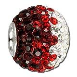 SilberDream Glitzer Bead Swarovski Kristalle dunkelrot ICE SilberDream Silber Beads für Bettelarmbänder GSB007