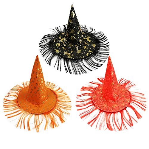 Joyibay 3 Stücke Halloween Hexenhut Kreative Haar Perücke Party Hut Kostüm Hut für Cosplay