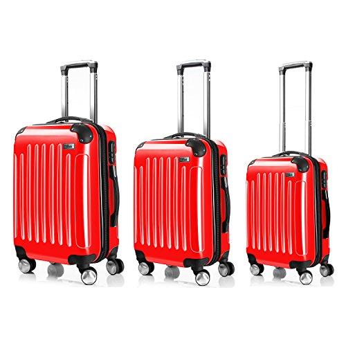 LDUDU ® Valise rigide à 4 doubles roues,Bagages avec 4 doubles roues 360°,Rouge,L