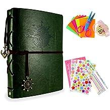 Foonii Retro Photo Album Imposta con gli strumenti fai da te, Cuoio Famiglia Photo Album Anniversario Sketchbook, Wedding Album-60Pages (verde scuro)