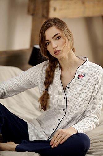 CANA nouvelle pigiama classico di 100% cotone Bianco/Blu