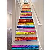12pcs Etiquetas engomadas de la escalera, Arcoíris de estilo 3D de madera autoadhesiva Decal Escaleras Escaleras de bricolaje extraíbles Pasos Decorac