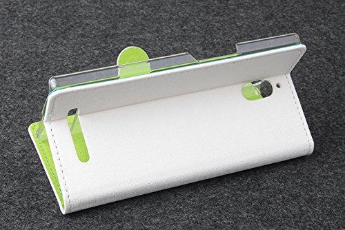 Baiwei Easbuy Weiß mit Grün Pu Leder Kunstleder Flip Cover Halter Halterung Handyhalter für Oppo Find 7 X9007 Android 3G Smartphone Tasche Hülle Case Handytasche Handyhülle Schutzhülle Etui