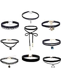 MingJun Ensemble de collants en cuir velours noir multicouches de 9 pièces  Collier élégant élégant gothique 7deaaf34410e