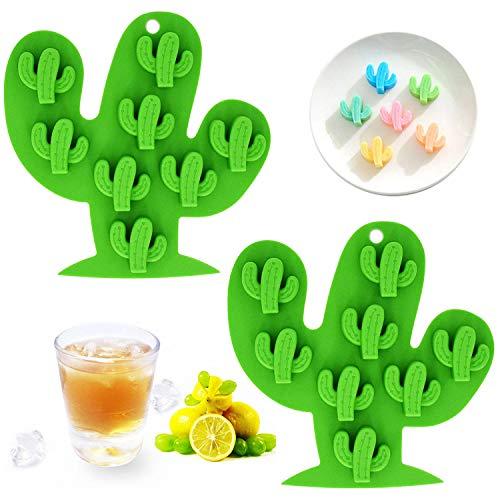 Fewo Mini-Kaktus-Eiswürfelform, Kakteen Silikonformen, Set für Schokolade, Süßigkeiten, Kuchen, Cupcakes, Seife, Backen, Gelöck, Kekse, Wachsmalstifte, 2 Stück