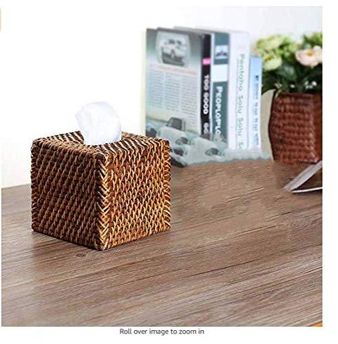 CZH Tissue-Boxen Europäische Rattan Handgeschöpftes Papier Handtuch Box Hand Quadratischen Schublade Karton Bodenlosen Tisch Serviette Box,Bambusweben,15 * 15 * 14 cm