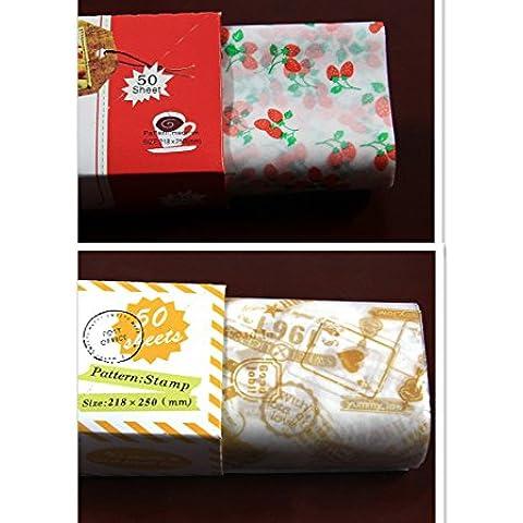 EQLEF® 100 PCS Food Grade Carta cerata da forno Biscotti hamburger sandwich Candy alimentari Carta (Food Grade Cera)