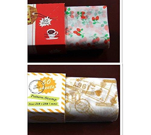 EQLEF® 100 PCS Food Grade Wachspapier Bäckerei Kekse Burger Sandwich Süßigkeit Food Geschenkpapier Anti-Öl-Papier (Papier Und Essbare Tinte)