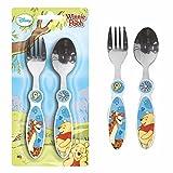 POS Handels GmbH Besteck-Set | Disney Winnie Puuh | 2-teilig | Gabel und Löffel für Kinder