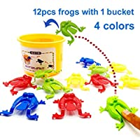 Newmere 12pcs Jumping Frogs Game Toy Party Favor Birthday Party Toys Action Toy Figures for Girl Boy