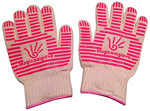 Magicoolglove Oven Gloves Pink BBQ Fire Place Gloves with 350