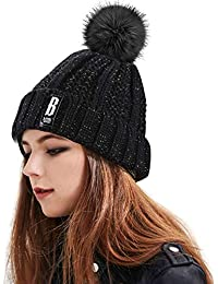 Proking Bonnet Femme Fille, Bonnet en Tricot et Fourré Chaud Crochet Laine  Mesdames trapu Douce câble avec Confortable Doublure… 8258c6c776f