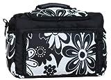TK-17 Wickeltasche KIM von Baby-Joy XXXL Übergröße Schwarz-Weiß Blumen II Windeltasche Pflegetasche Babytasche Tragetasche