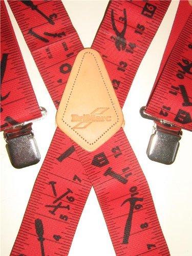 Brimarc Herren Hosenträger, Motiv Maßband, Rot (Hosenträger Maßband)
