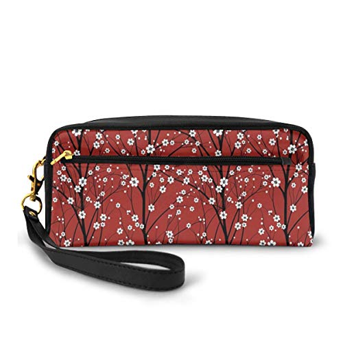 Pencil Case Pen Bag Pouch Stationary,Cherry Blossom Tree Branches Beauty Japanese Traditional Folk Eastern Petals,Small Makeup Bag Coin Purse