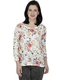 SVT ADA COLLECTIONS Cotton Lycra Knitted Off White with Multi Color Floral Printed Elegant TOP. (021617P_Off-White_Medium)