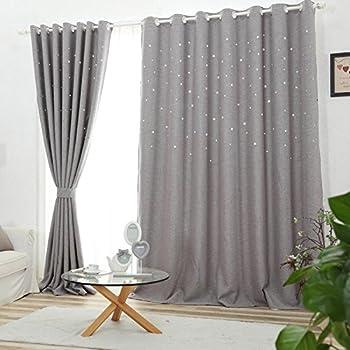 nibesser vorh nge ausgestanzte sterne verdunklungsvorh nge blickdichte gardine mit sen. Black Bedroom Furniture Sets. Home Design Ideas