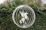 Edelstahl Windspiel 'Kreis Einhorn' - 19 cm