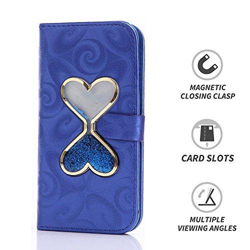 LIKESEA Schutzhülle für Apple iPhone 6 Plus (14 cm / 5,5 Zoll), mit Strasssteinen, mit Kreditkartenfächern, Magnetverschluss, Violett, Apple iPhone 6 Plus/ 6s Plus, blau