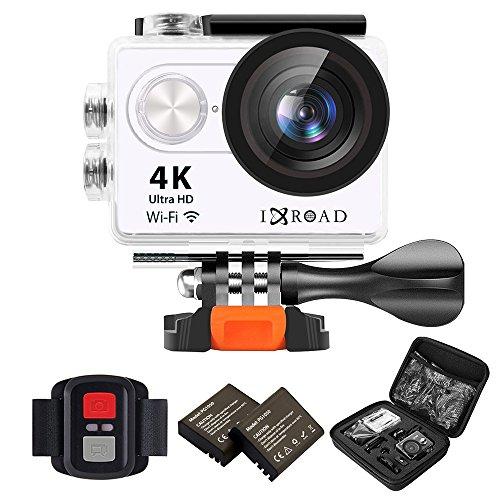 Ixroad action camera 4k ultra hd wifi sport cam macchina fotografica subacquea 170 gradi grandangolo con custodia impermeabile monitor telecomando valigetta 2 batteria e accessori ( bianco )