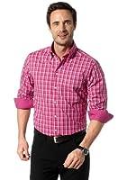 Seidensticker Herren Langarm Hemd UNO Regular Fit Button-Down-Kragen rosa / weiß kariert mit Patch 138412.45